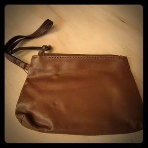 Handbags - Small brown leather wristlet